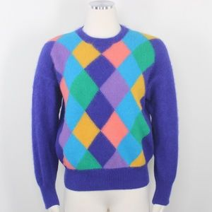 VTG Benetton Angora 1980's Colorblock Crew Sweater